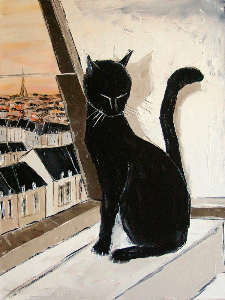 Black cat is a Paris master