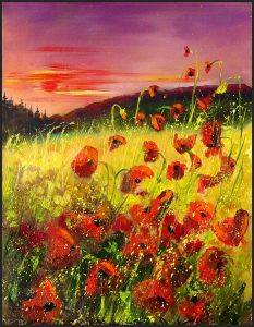 Poppies in sunset