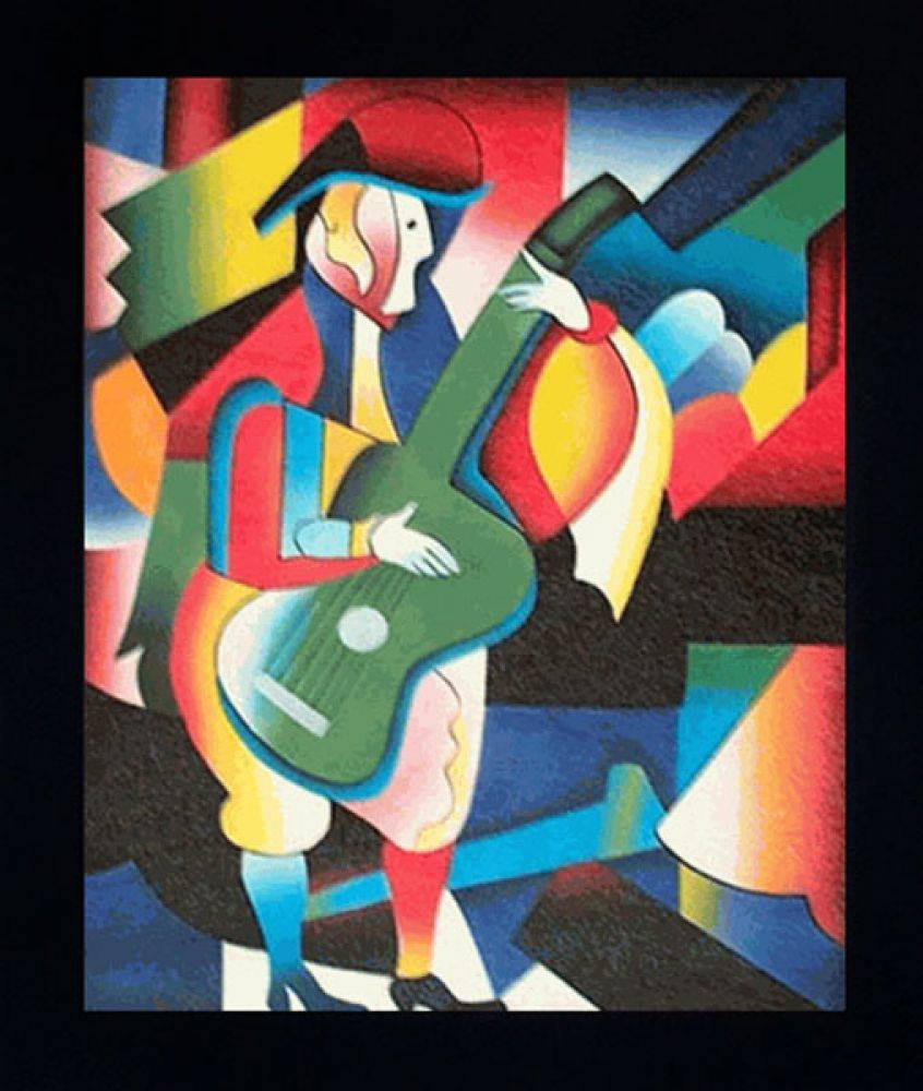 Abstract Guitarist Pre-Framed