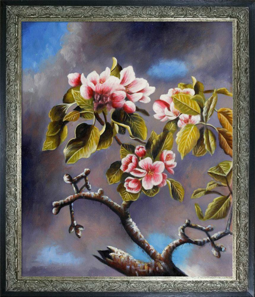 Branch of Apple Blossoms Against Cloudy Sky Pre-Framed