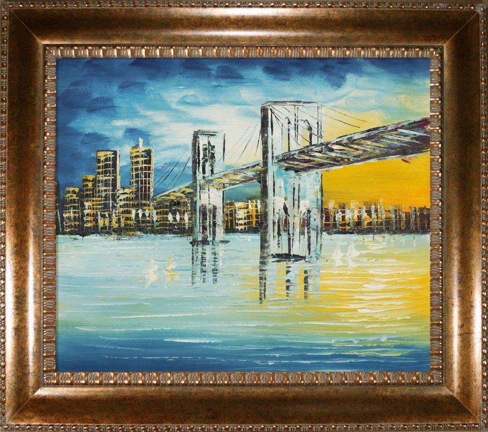 Brooklyn Bridge, Evening Pre-Framed