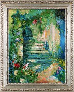 Escalier Fleuri Reproduction Pre-Framed
