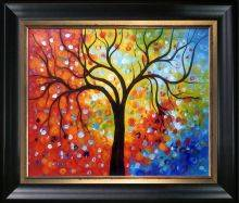 Rainbow Tree Reproduction Pre-Framed