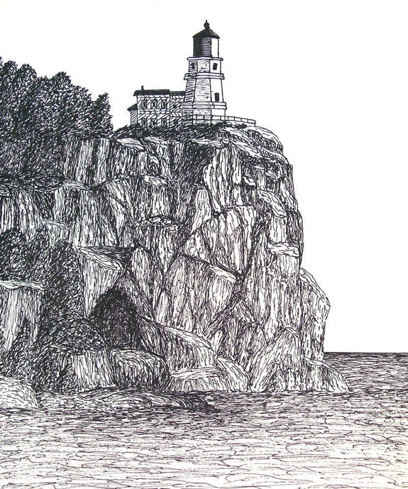 Split Rock Lighthouse Drawing