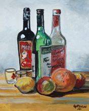 Three Bottles and Fruit