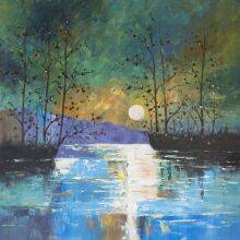 River, with Glowing Moon Reproduction