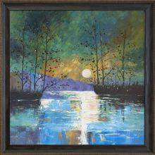 River, with Glowing Moon Reproduction Pre-Framed