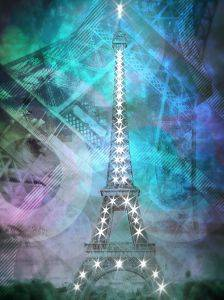 Illuminated Pop Art Eiffel Tower