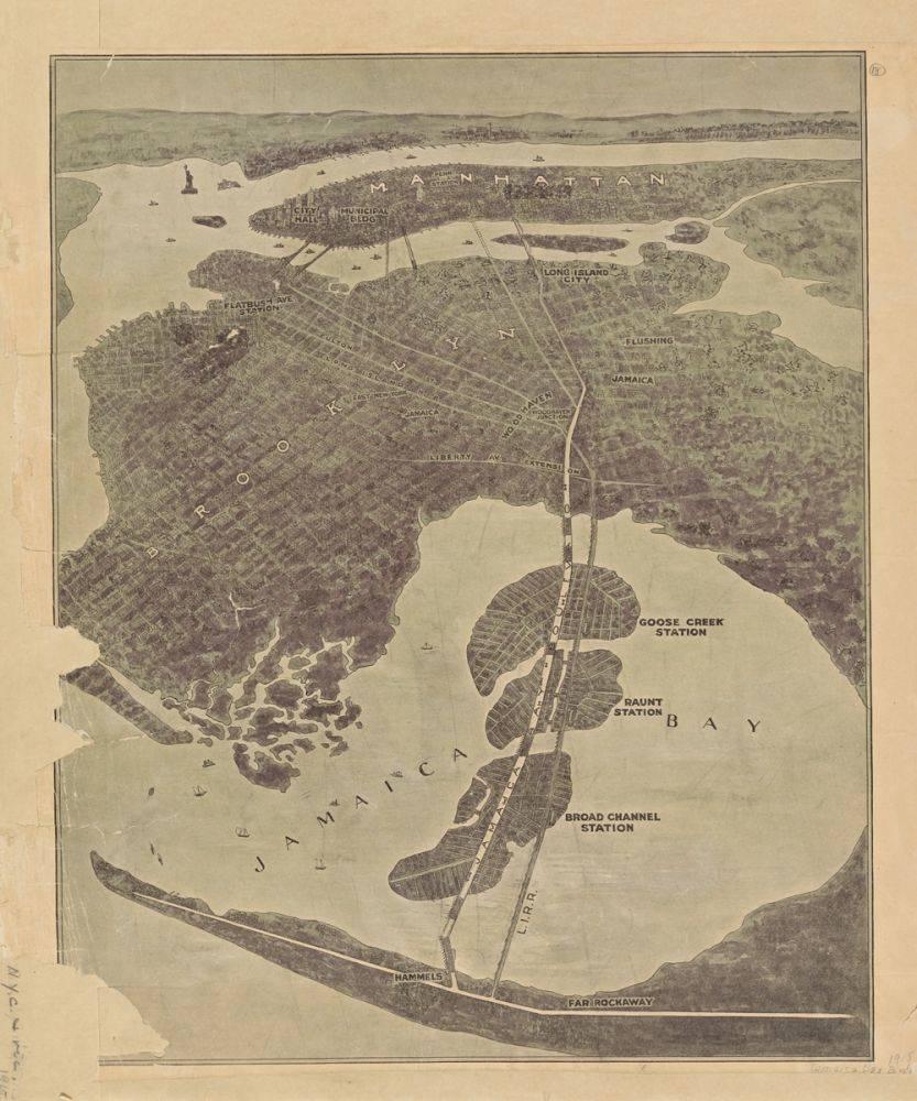 Bird's Eye View of New York, Showing Jamaica Bay