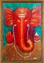Ganesha Reproduction Pre-Framed