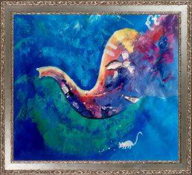 Ganesha Reproduction Pre-Framed