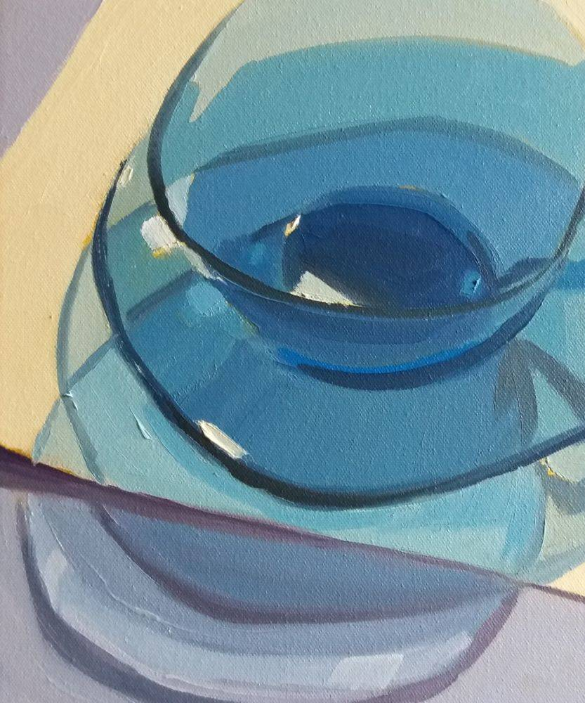 Blue Glass Cup and Saucer