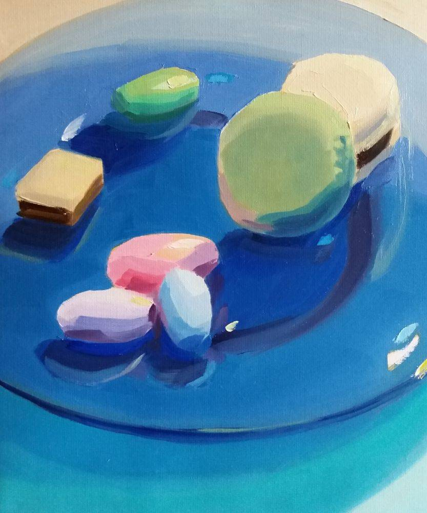 Candies on a Blue Glass Plate