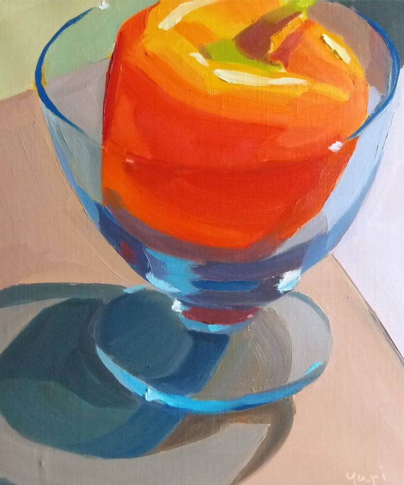 Orange Pepper in Blue Glass