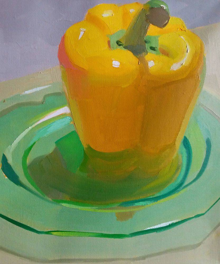 Yellow Pepper on Green Plate