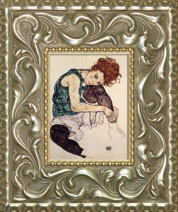 Seated Woman with Legs Drawn Up Pre-Framed Miniature