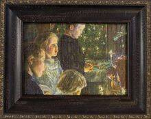 Children by the Christmas Tree Pre-Framed Miniature