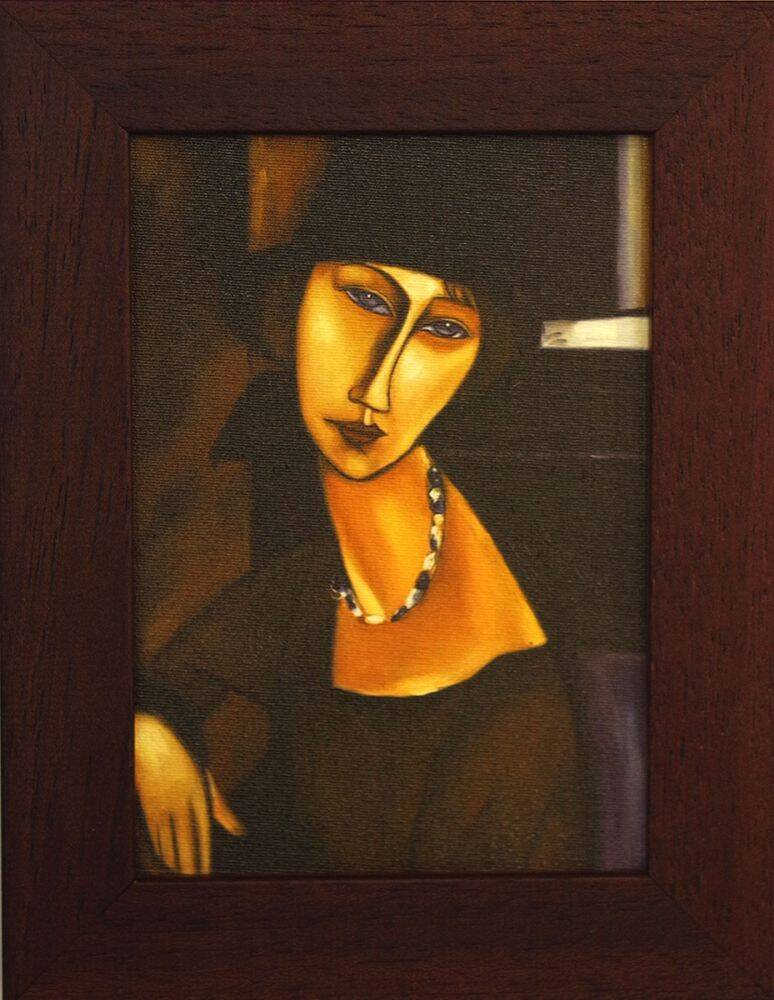 Jeanne Hebuterne with Hat and Necklace Pre-Framed Miniature