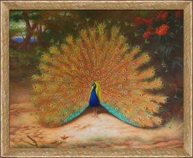 Peacock and Peacock Butterfly, 1917 Pre-Framed