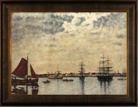 Antwerp, Boats on the River Scheldt Pre-Framed