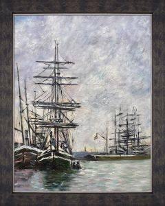 Boats at Dock Pre-Framed