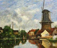 River Scene with Windmill at Dordrecht, Holland