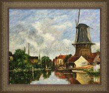 River Scene with Windmill at Dordrecht, Holland Pre-Framed