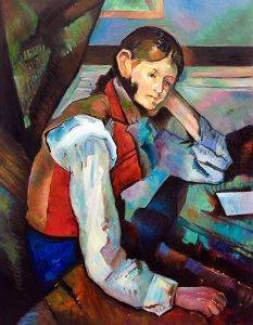 Boy in a Red Waistcoat Leaning on his Elbow