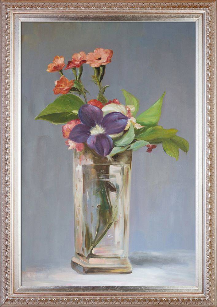 Carnations and Clematis in a Crystal Vase Pre-Framed