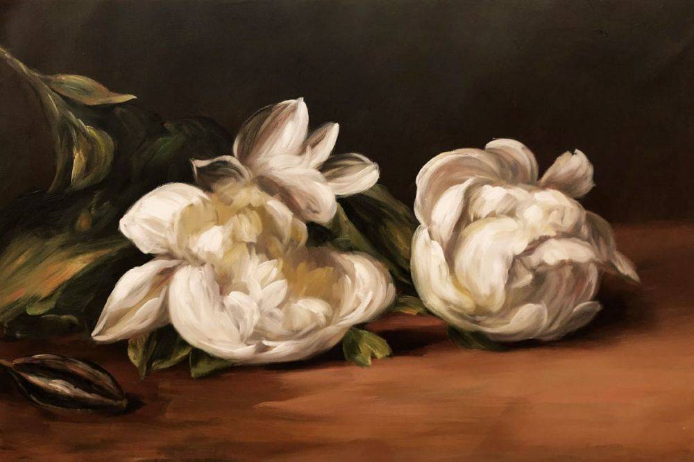 Branch Of White Peonies With Pruning Shears