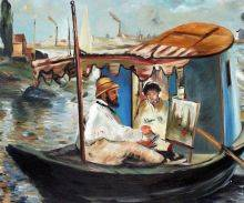 Claude Monet Working on his Boat in Argenteuil