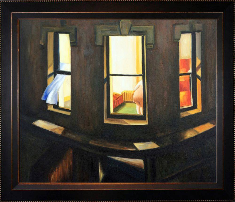 Edward Hopper Night Windows Pre Framed Veine D Or Bronze Angled Frame 20 X24 Canvas Art Reproduction Oil Paintings