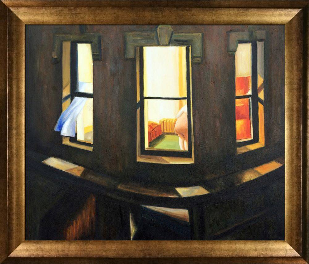 Edward Hopper Night Windows Pre Framed Athenian Gold Frame 20 X24 Canvas Art Reproduction Oil Paintings