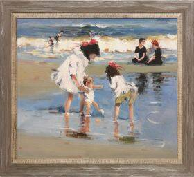 Children Playing at the Seashore Pre-Framed