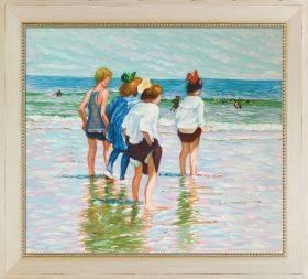 Summer Day, Brighton Beach Pre-Framed