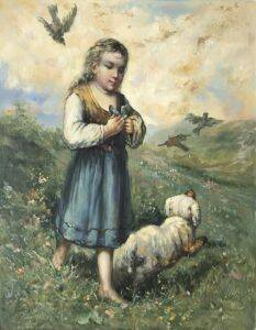 Child with Birds and Dog