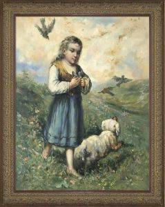 Child with Birds and Dog Preframed