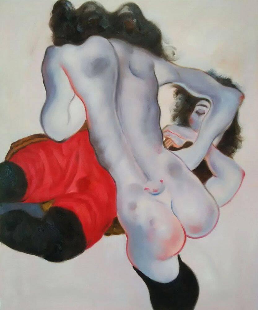 Liegende Frau mit roter Hose und Stehender Weiblicher