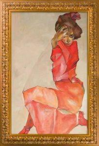 Kneeling Female in Orange-Red Dress, 1910 Preframed