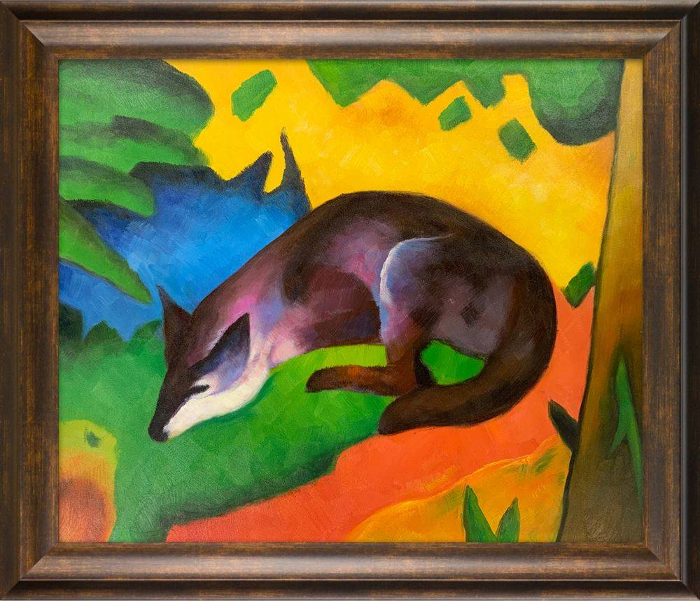 Franz Marc Blue Black Fox Pre Framed Modena Vintage 20 X 24 Canvas Art Reproduction Oil Paintings