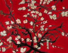 Branches Of An Almond Tree In Blossom, Red Accent Tile (felt back)
