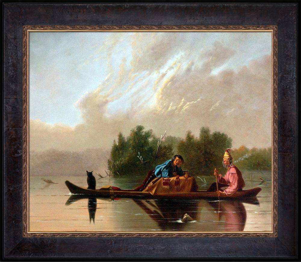 Fur Traders Descending the Missouri, 1845 Pre-Framed