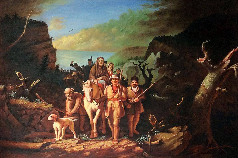 Daniel Boone Escorting Settlers Through the Cumberland Gap