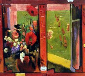 Bouquet of Flowers with a Window Open to the Sea (Reverse of Hay-Making in Brittany)