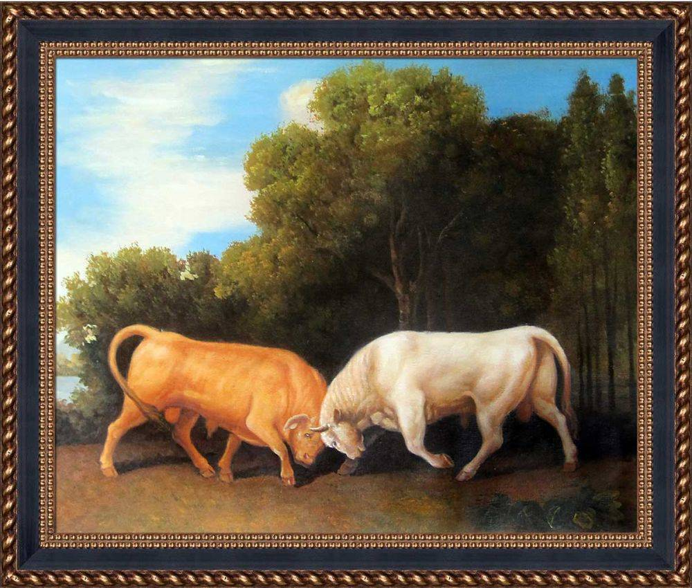 Bulls Fighting Pre-Framed