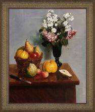 Still Life with Flowers and Fruit Pre-Framed