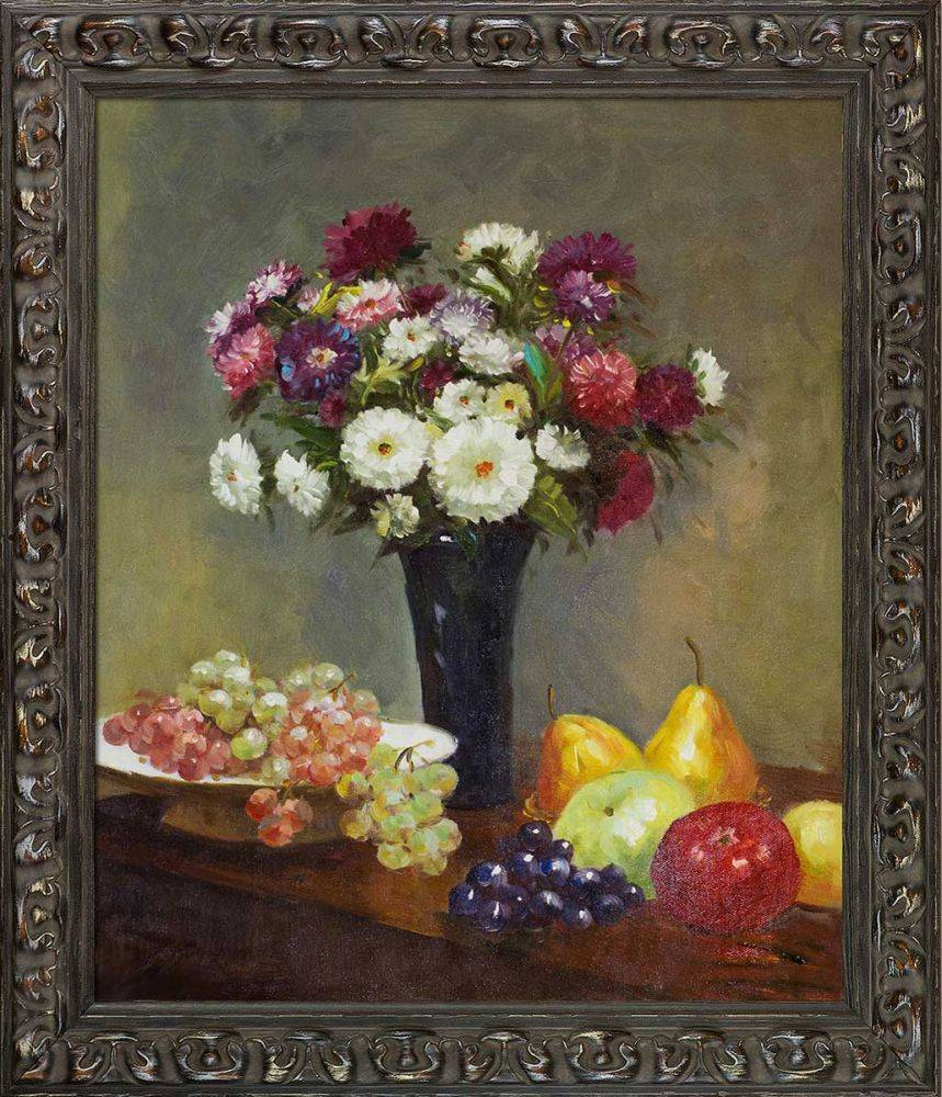 Asters and Fruit on a Table Pre-Framed