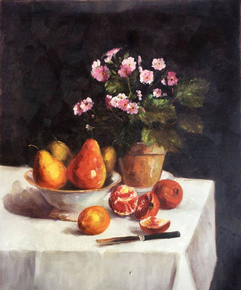 Still Life, Primroses, Pears and Promenates, 1873