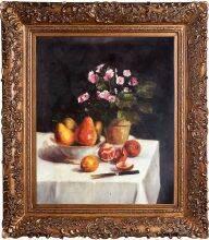 Still Life, Primroses, Pears and Promenates, 1873 Pre-Framed