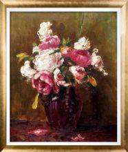 White Peonies and Roses, Narcissus Pre-Framed